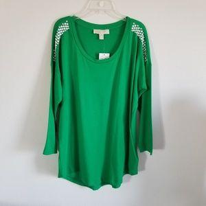 Michael Kors M Spring Green Studded Blouse